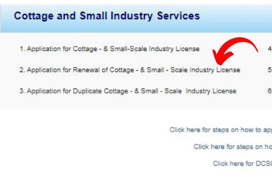Application for Renewal of cottage & small scale industry license