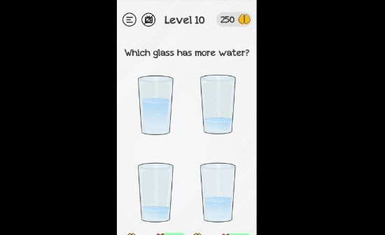 Braindom level 10 which glass has more water