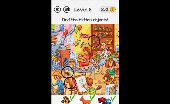 Braindom level 8 find the hidden objects